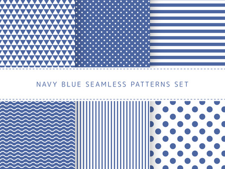 Navy blue seamless pattern set