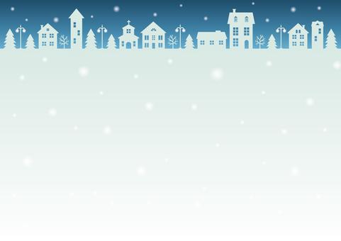 雪降る町の背景