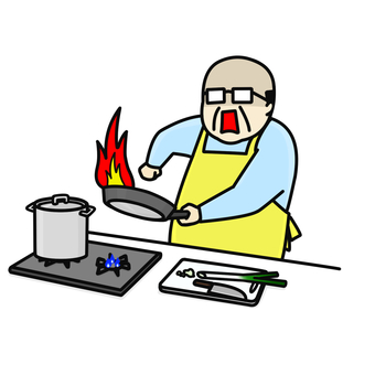 Cooking middle-aged man burning