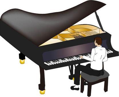 グランドピアノ演奏中・・男性