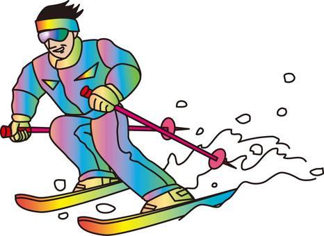 Skiing, snow