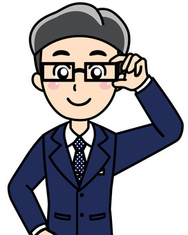 Male company employee eyeglasses men's suit