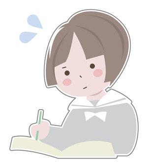 여학생 (공부 중)