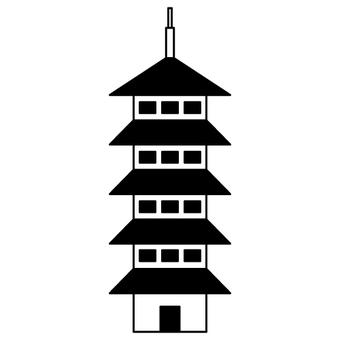 Five-storied pagoda (monochrome)