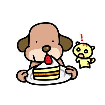 ケーキをもつ犬とネコのイラスト