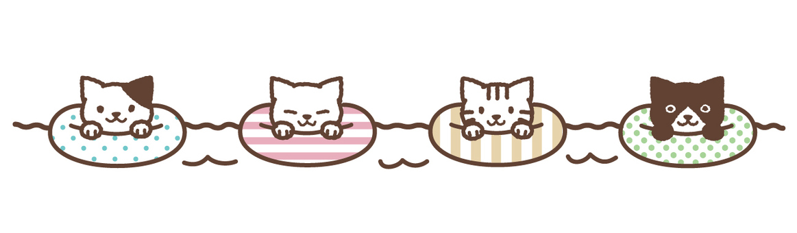 Line of 4 cats and floating rings