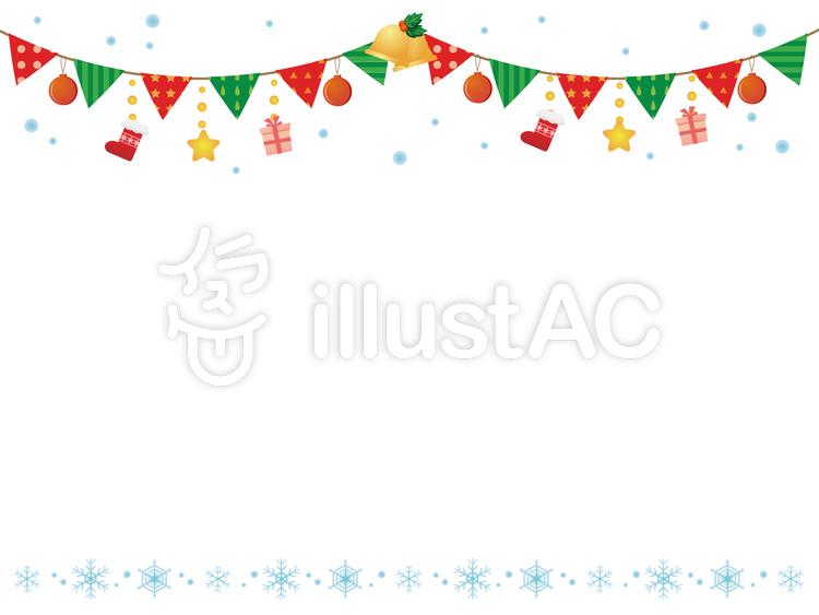 クリスマスパーティーの飾り枠イラスト No 101433 無料イラスト
