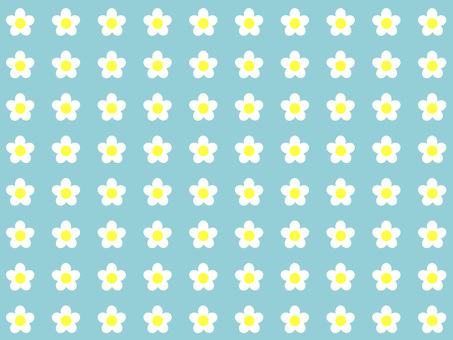 白花×淡藍色