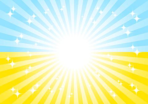 노란색과 파란색의 광선 반짝 배경 소재