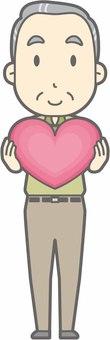 Elderly man d - Heart - whole body