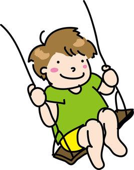 Boys riding a swing color