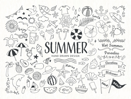 Summer and sea hand drawn line art illustration set