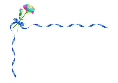 Rainbow Carnation and Blue Ribbon