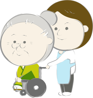 Grandma and carer in a wheelchair