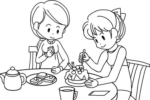Tea ceremony (line drawing)