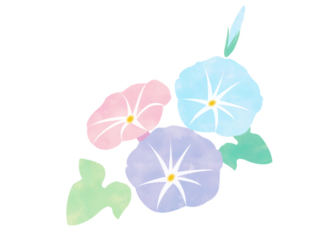 Watercolor style morning glory cut