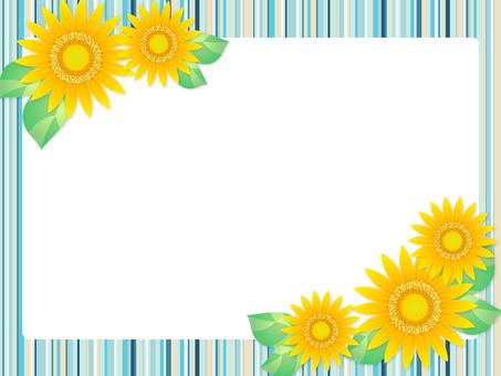 Sunflower and stripe frame (light blue)