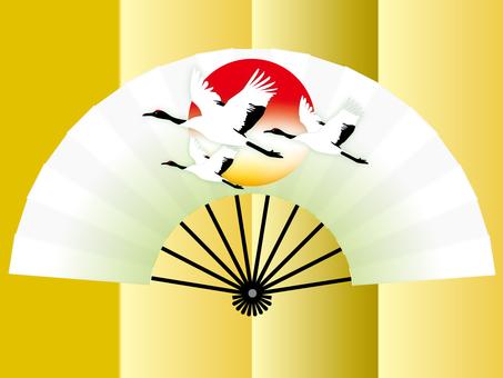 Crane folding fan