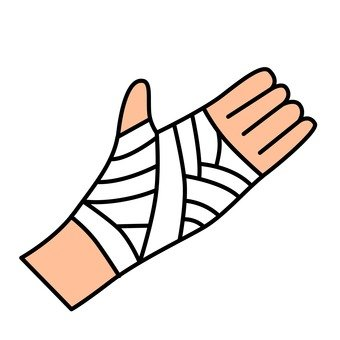 Right hand wrapping a bandage
