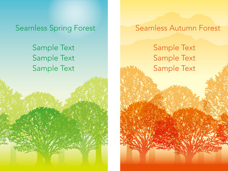 Seamless Four Seasons Forest 2 Spring and Autumn