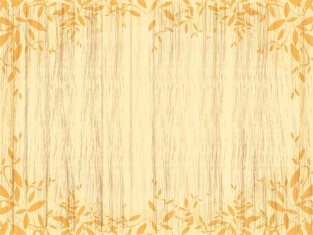Autumn leaves Wood grain background 161009