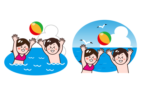 Male female set playing with beach ball at sea