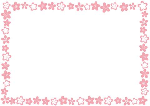 ピンク桜花びらフレーム枠-かわいい和風柄