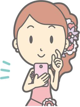 Bridegroom pink - smartphone operation - bust