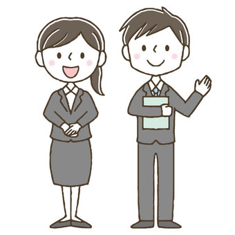 Cute business man woman / hand drawn to guide