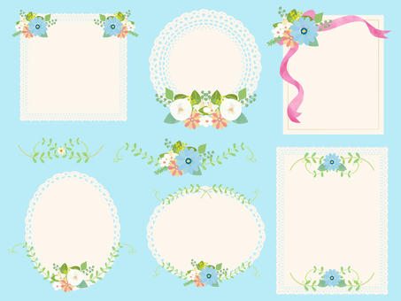 Flower and lace girly frame set