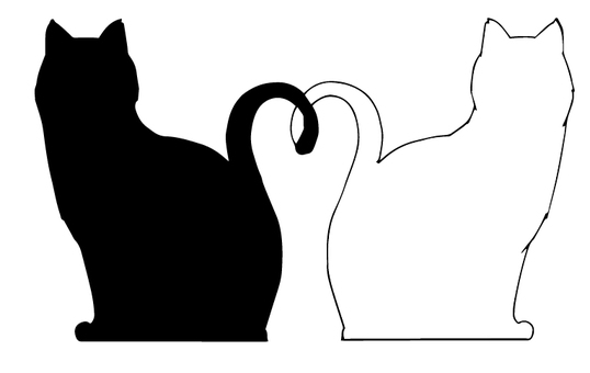 Cats silhouette couple