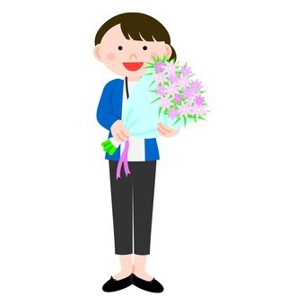Woman holding a bouquet, whole body