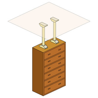 Chest of drawers and clipper (with ceiling)