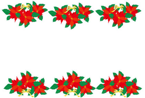 Christmas red poinsettia and golden ribbon