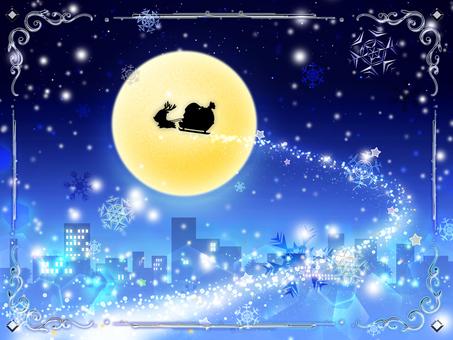 聖誕老人和馴鹿(夜景
