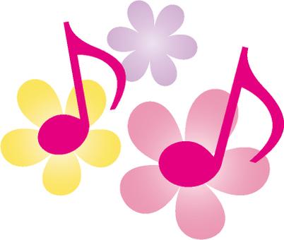 핑크 음표와 꽃