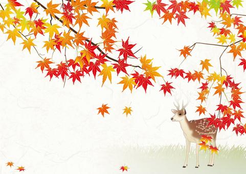 在葉子的日本紙背景_鹿