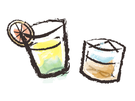 Japanese style drink illustrations