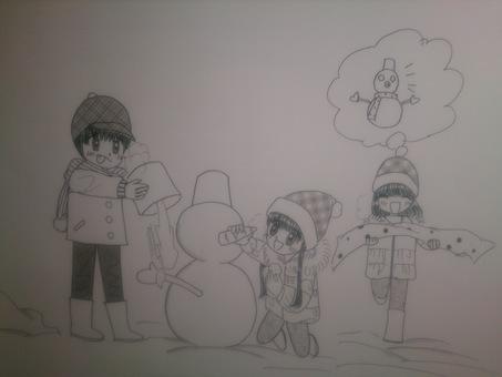 Snowman with children