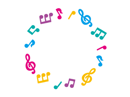 Colorful musical note circle frame