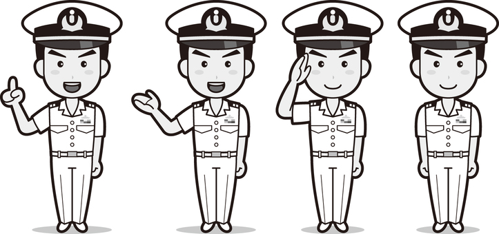 Self-Defense Force 1 (Maritime Self-Defense Force, summer clothing) black and white