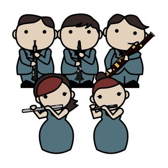 Orchestra, woodwind instrument, 5 person formation