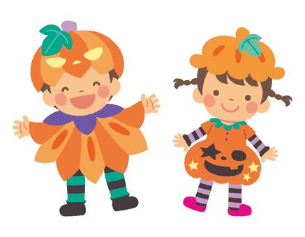 ハロウィンの子どもたち かぼちゃ