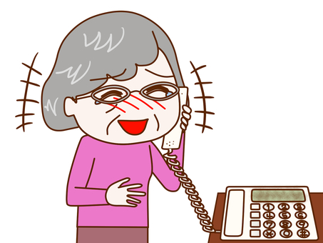 Grandmother who laughs over the phone