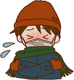 A boy with fever with cold