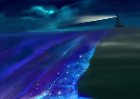 Night lighthouse moon
