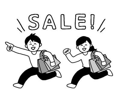 人們在銷售中購物(簡單的黑色和白色)