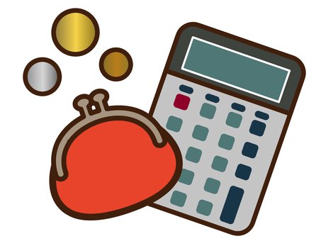 Purse, coins and calculator