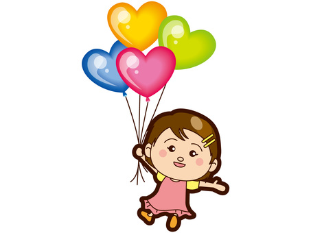 A girl flying with a balloon