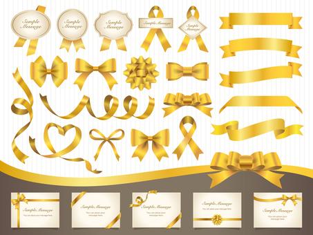 Ribbon / frame / heading set / gold